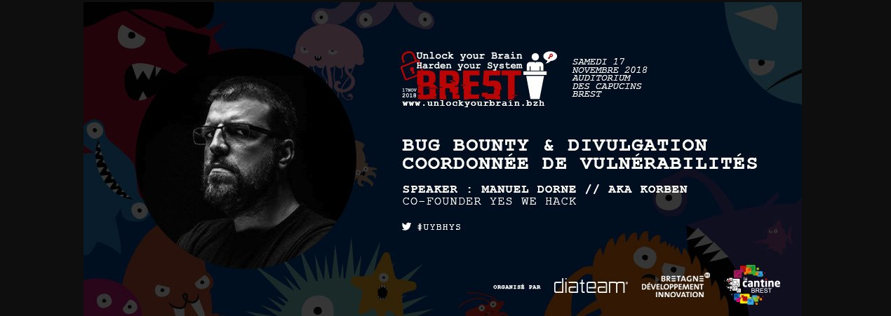 Korben, YesWeHack Founder, to give a talk on Bug Bounty in Brest