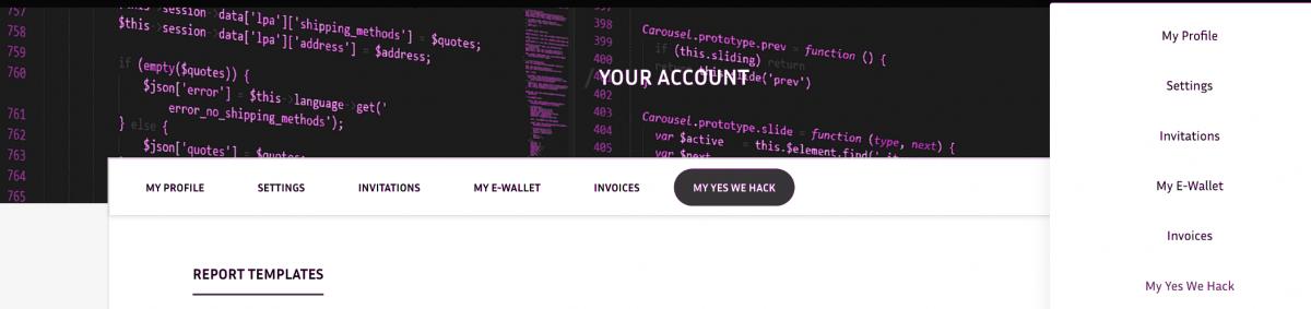 My Account YesWeHack