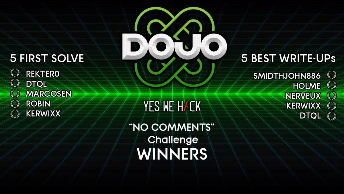 dojo by yeswehack - no comments challenge winners