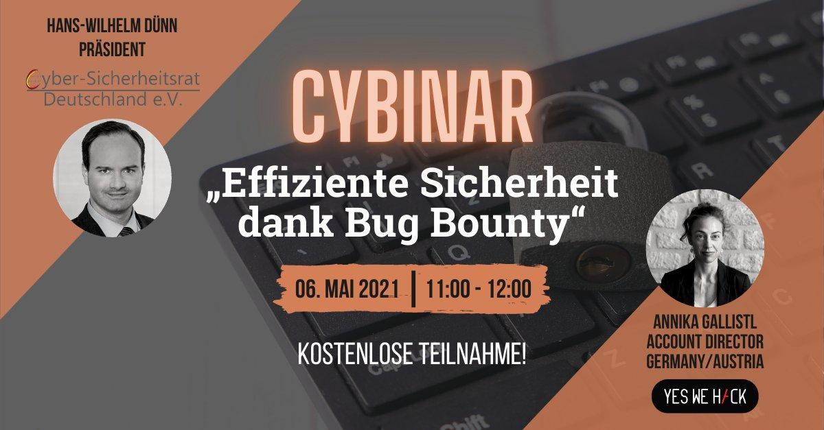 "Annika Gallistl will participate to a webinar ""effiziente sicherheit dans Bug Bounty"" may 2021"