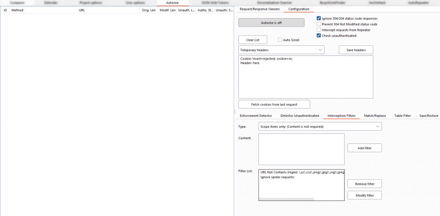 Free plugin Authorize for Burp Suite